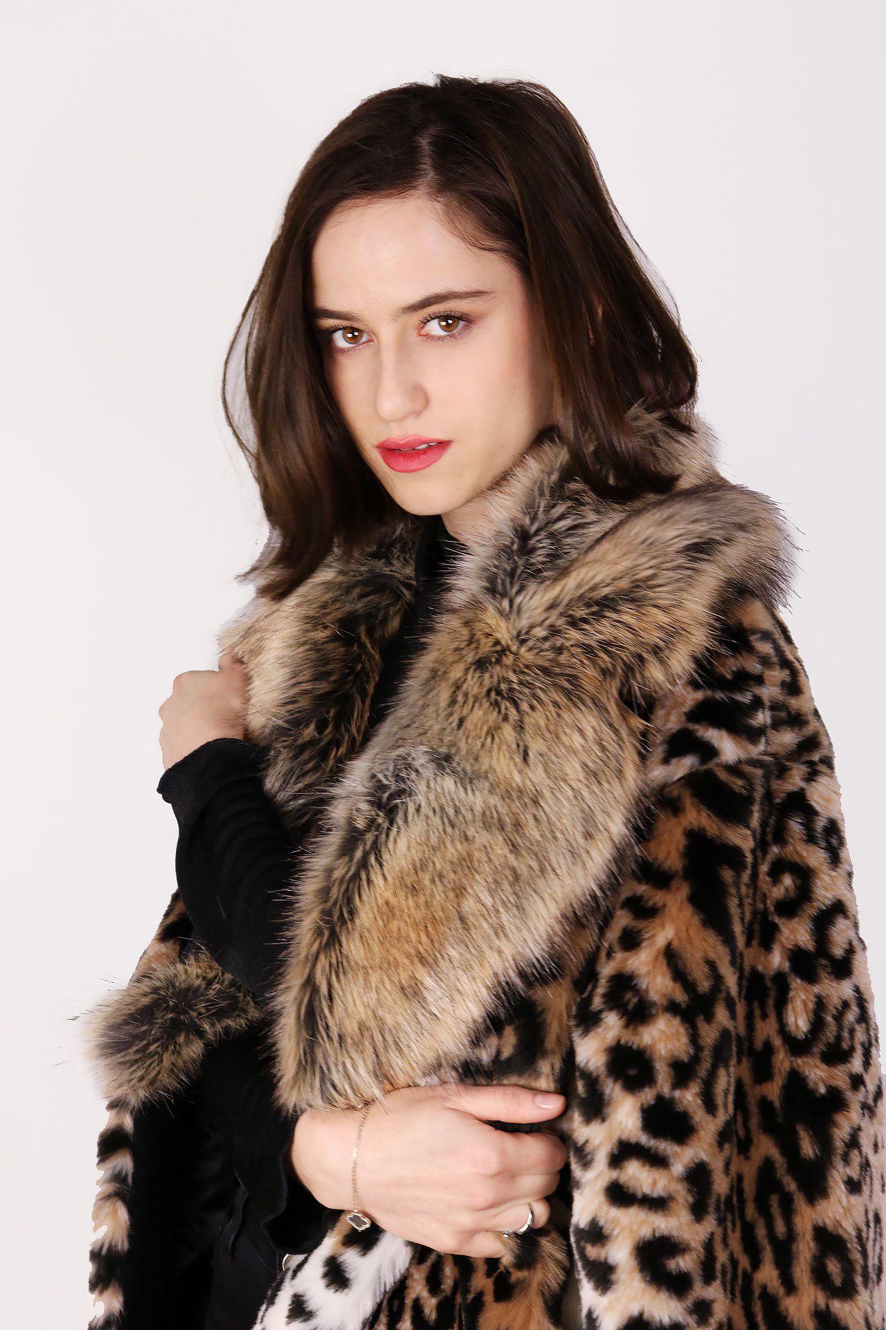 sale retailer 446da 61181 Cappotto in eco-pelliccia maculato beige-nero