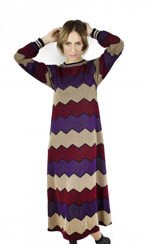 Vestito lungo in maglia con filo lurex