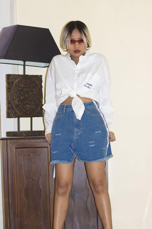 Gonna jeans con nastro laterale