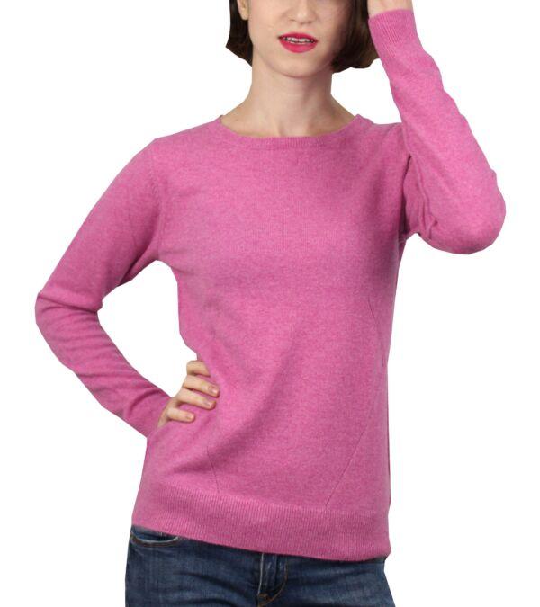 Mavis1907 rosa maglia girocollo con lavorazione traforata