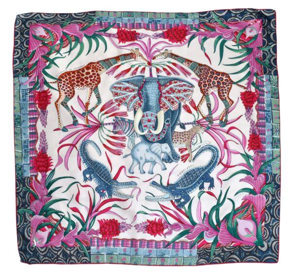 Foulard h foulard donna 100% seta dimensione 90x90 multicolore