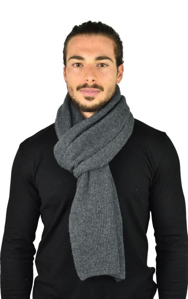 Tuc sciarpa uomo misto cashere tinta unita lavorazione a coste antracite