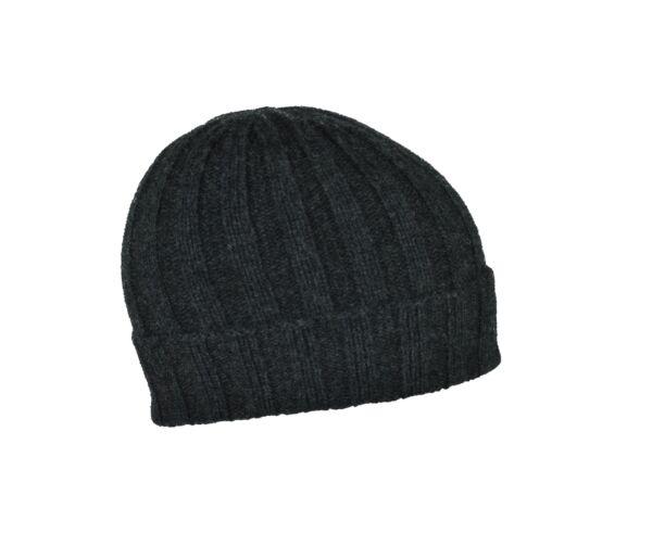 Henry cappellino uomo in cashmere tinta unita lavorazione a coste grigio scuro