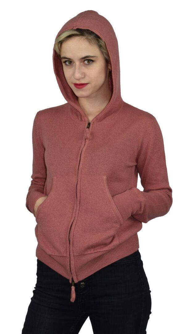 Lilimba1905 rosa 1stamerican cardigan con cappuccio 100% puro cashmere