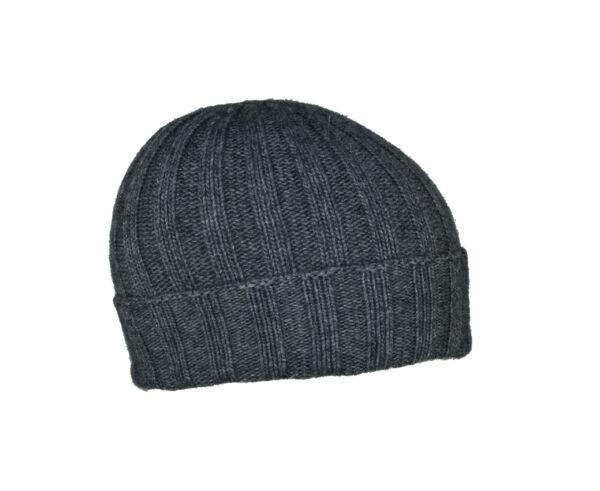 Wallis cappellino uomo tinta unita lavorazione a coste grigio medio