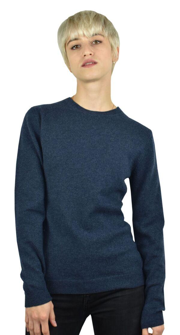 Rosambi180002 blu jeans 1stamerican maglia 100% cashmere da donna girocollo