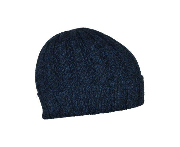 Henry cappellino uomo in cashmere tinta unita lavorazione a coste blu mouline