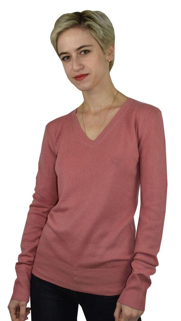 Hope1907 rosa maglia scollo v profondo con bottoni in madreperla ai polsi