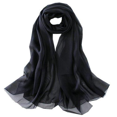 Sjsl024 foulard donna 100% seta dimensione 110x180 nero