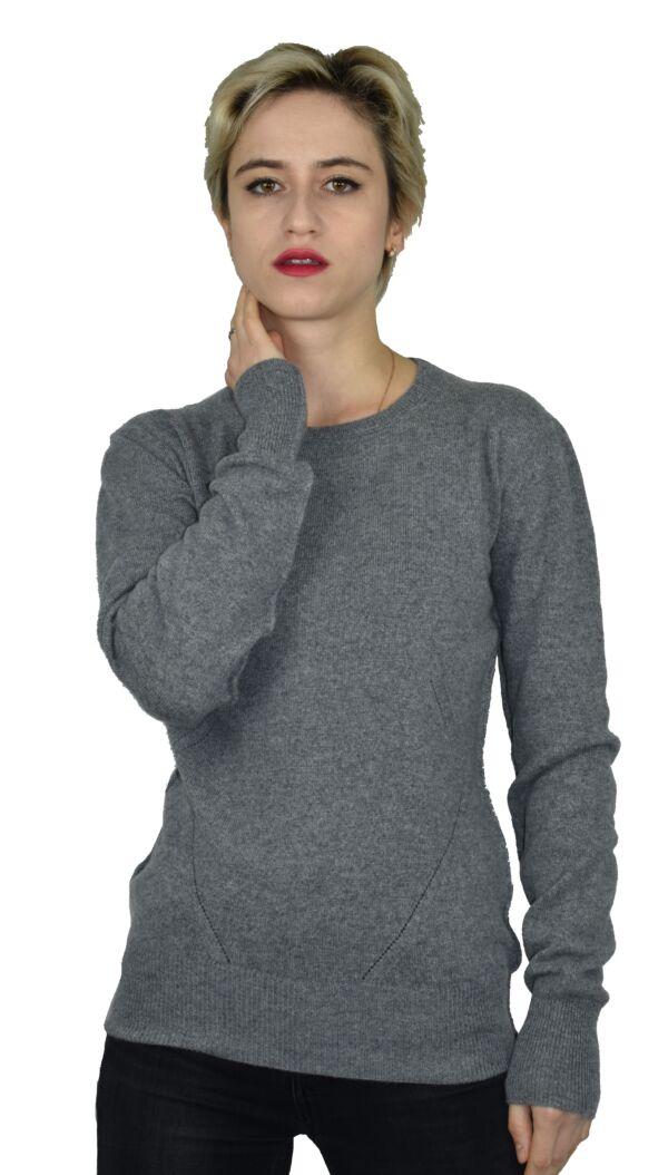 Mavis1902 grigio maglia girocollo con lavorazione traforata