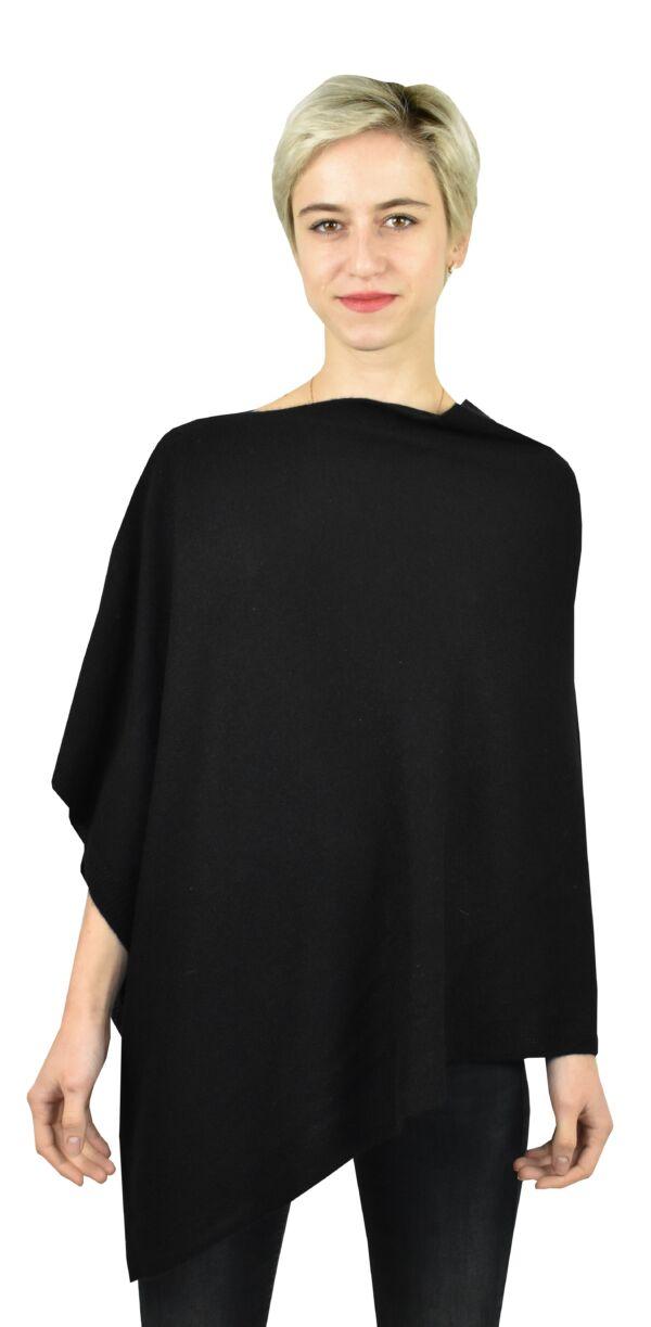 Poncho nero 1stamerican maglia poncho 100% puro cashmere