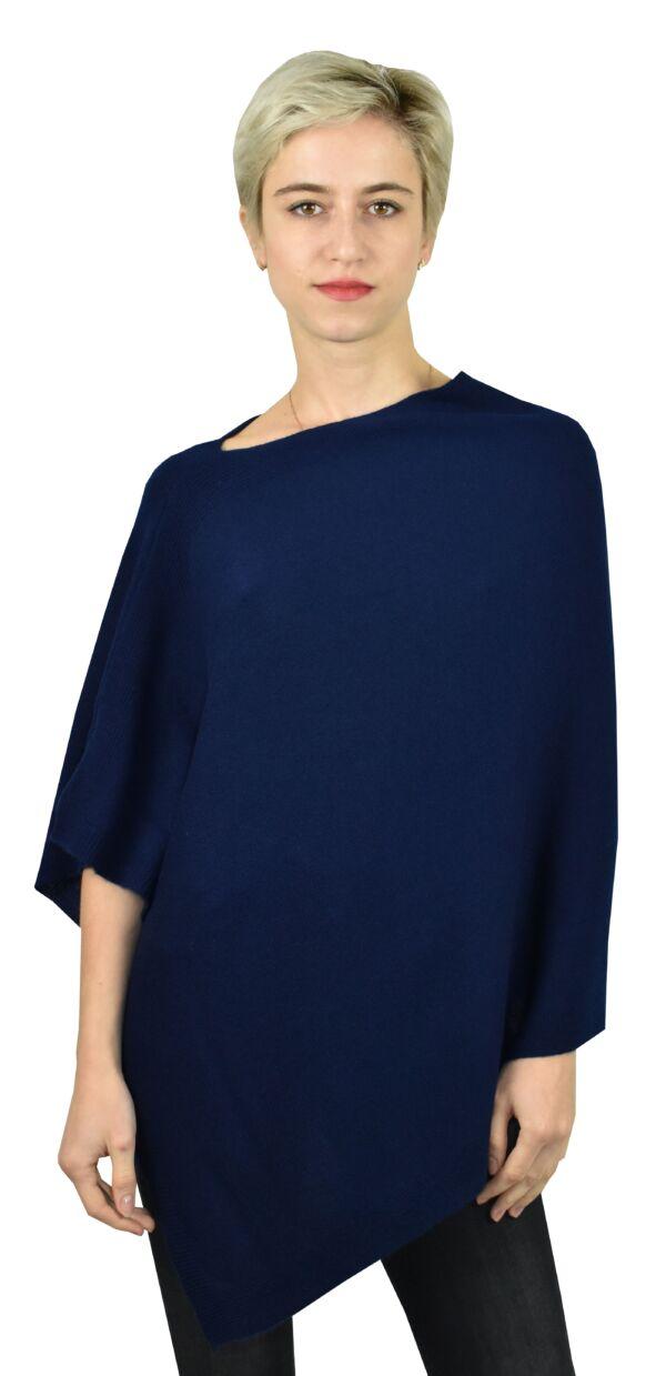 Poncho blu 1stamerican maglia poncho 100% puro cashmere