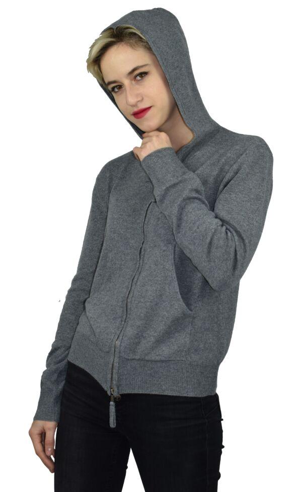 Lilimba1902 grigio 1stamerican cardigan con cappuccio 100% puro cashmere