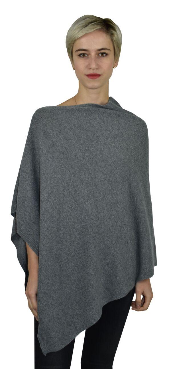 Poncho grigio mouline 1stamerican maglia poncho 100% puro cashmere