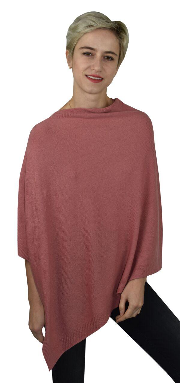Poncho rosa 1stamerican maglia poncho 100% puro cashmere