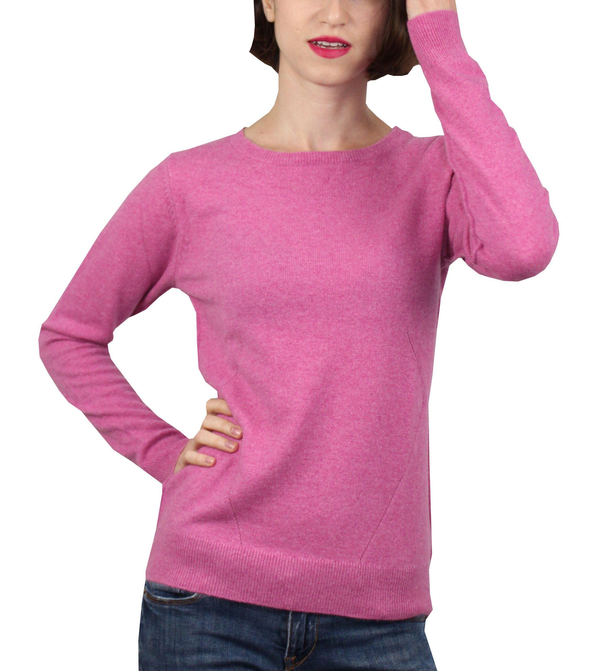 Mavis1907 maglia girocollo con lavorazione traforata rosa