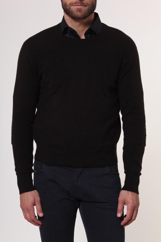1stamerican maglia girocollo 100% cashmere da uomo manica lunga con toppa in contrasto su gomito - regular fit