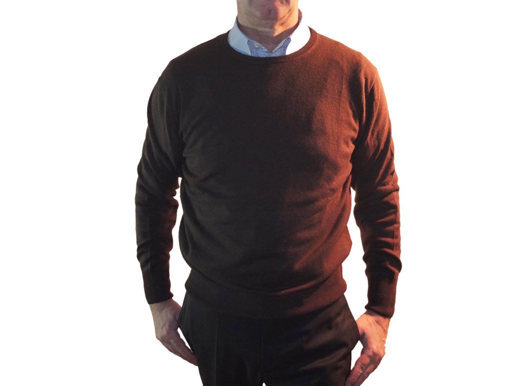 1stamerican maglia girocollo 100% cashmere da uomo manica lunga - regular fit