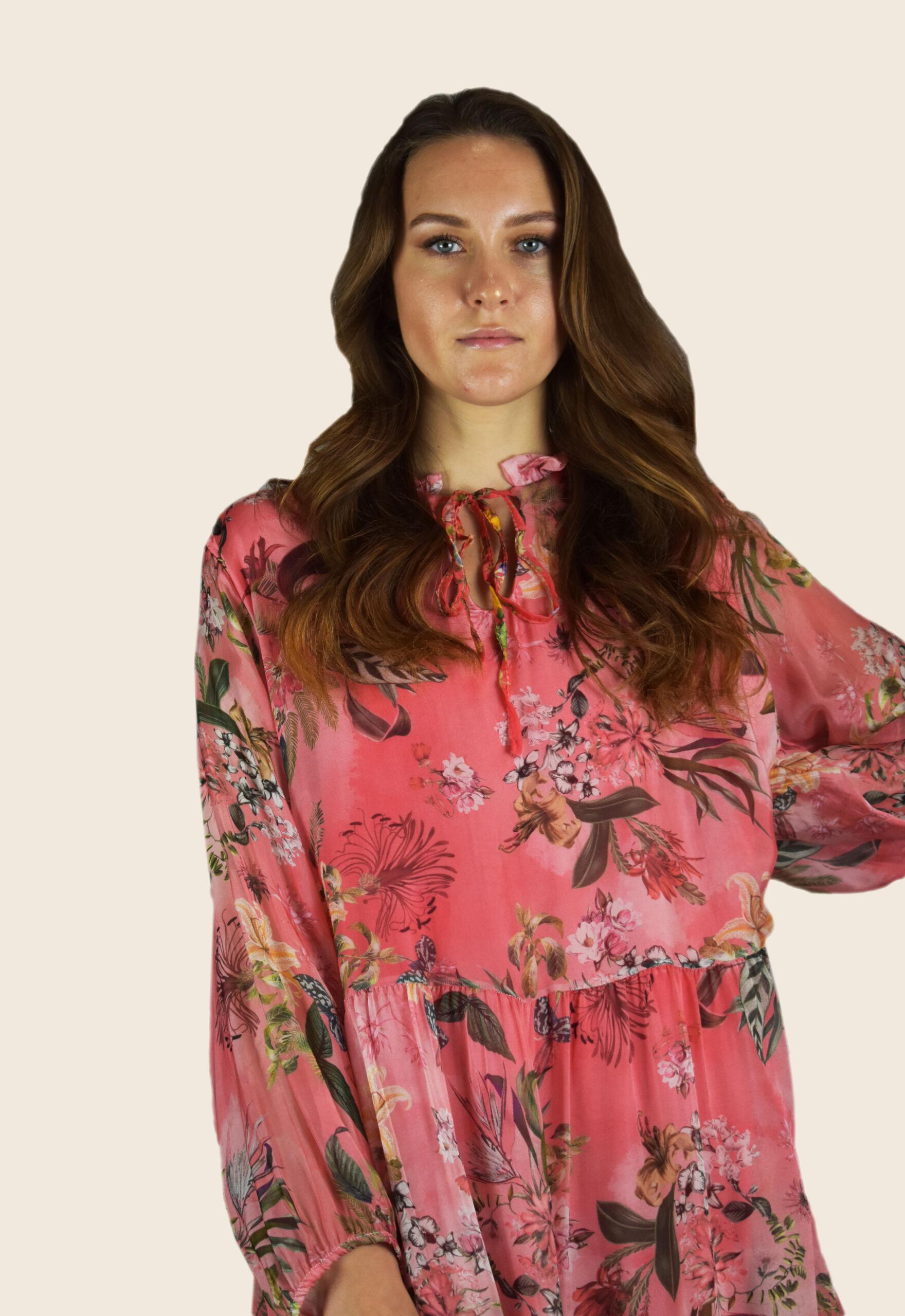 Vestito donna manica lunga girocollo con laccio ed elastico in vita fantasia floreale