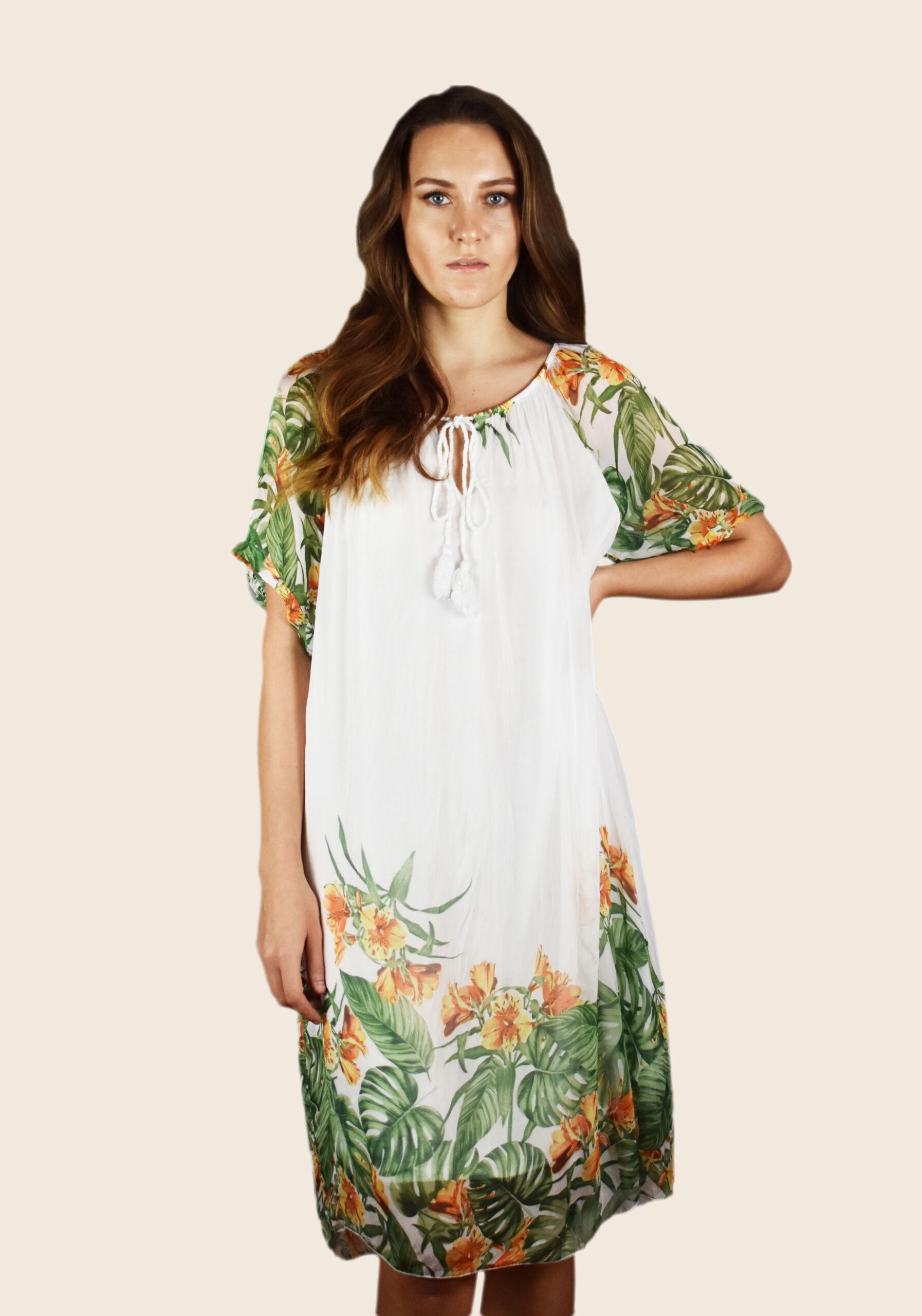 Vestito donna lungo manica corta con cordino al collo e fantasia floreale su maniche e fondo