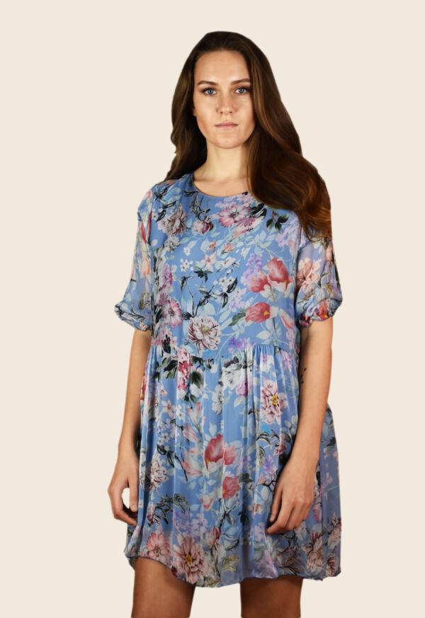 Vestito donna manica tre quarti girocollo ampio elastico in vita fantasia floreale