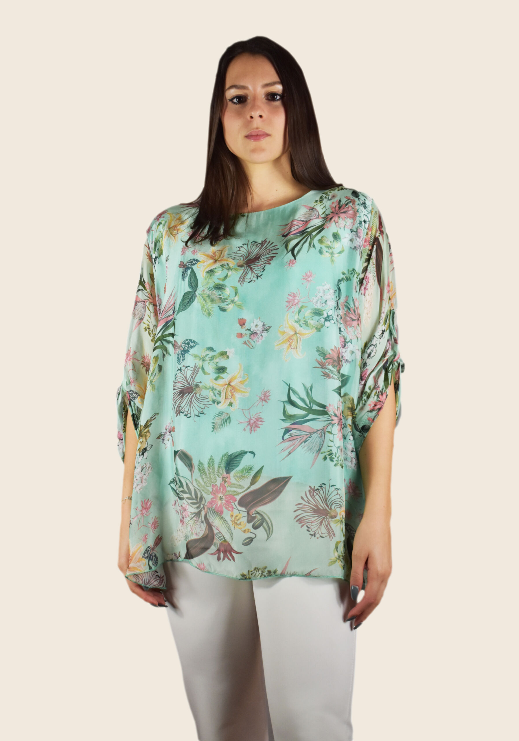 Blusa donna manica tre quarti girocollo ampio fantasia floreale