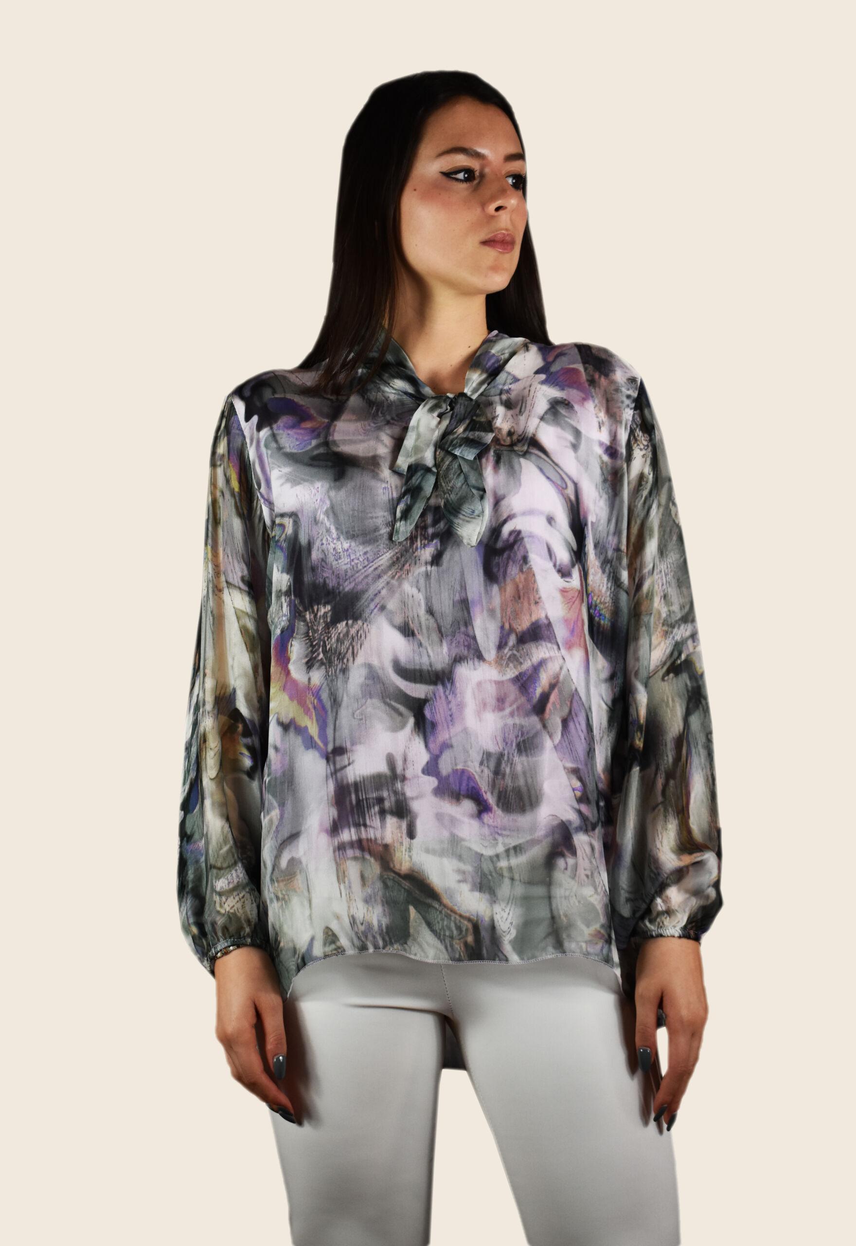 Blusa donna manica lunga con fiocco al collo fantasia floreale