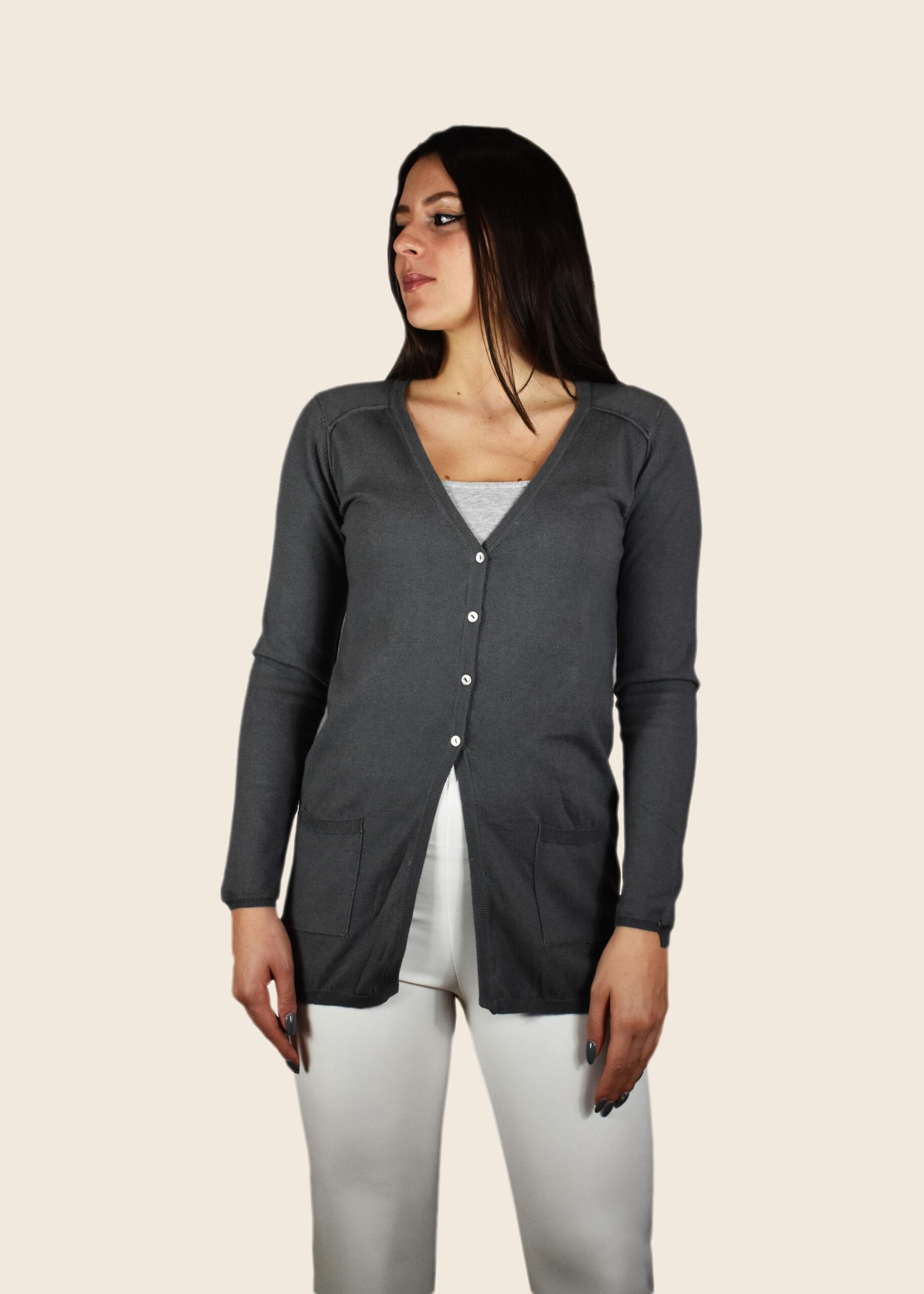 Eudora cardigan 55% seta 45% cashmere da donna collo a v manica lunga apertura con 4 bottoni e tasche applicate