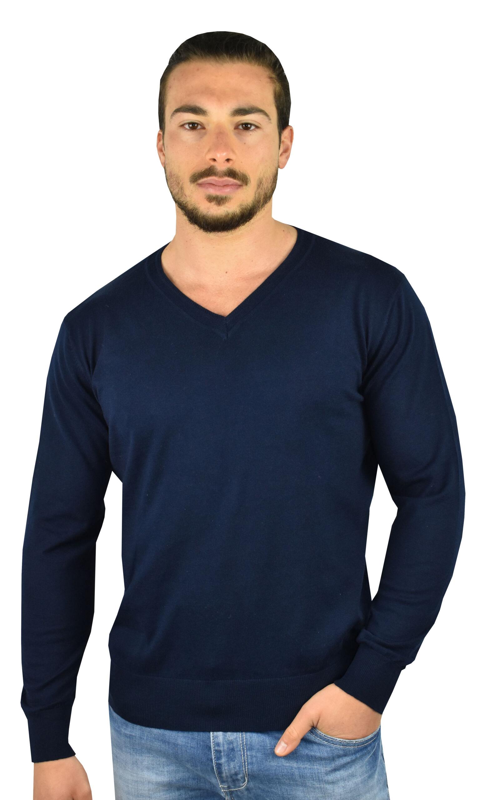 Orlando maglia 70% cotone 30% seta da uomo collo a v manica lunga finezza 14