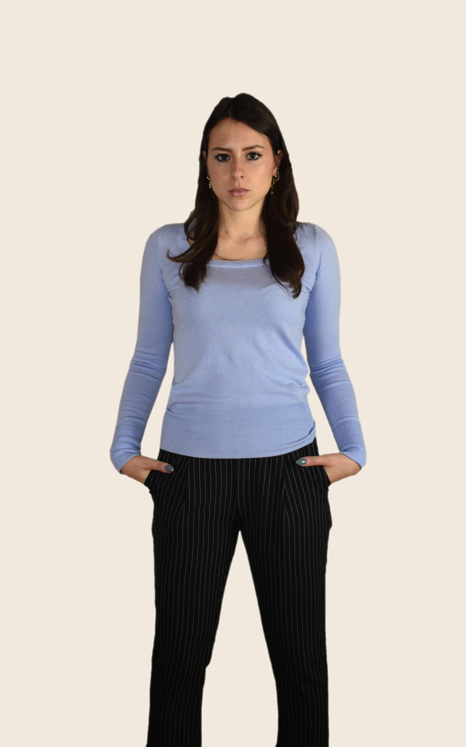 Rebecca maglia 55% seta 45% cashmere da donna girocollo ampio manica lunga risvoltata