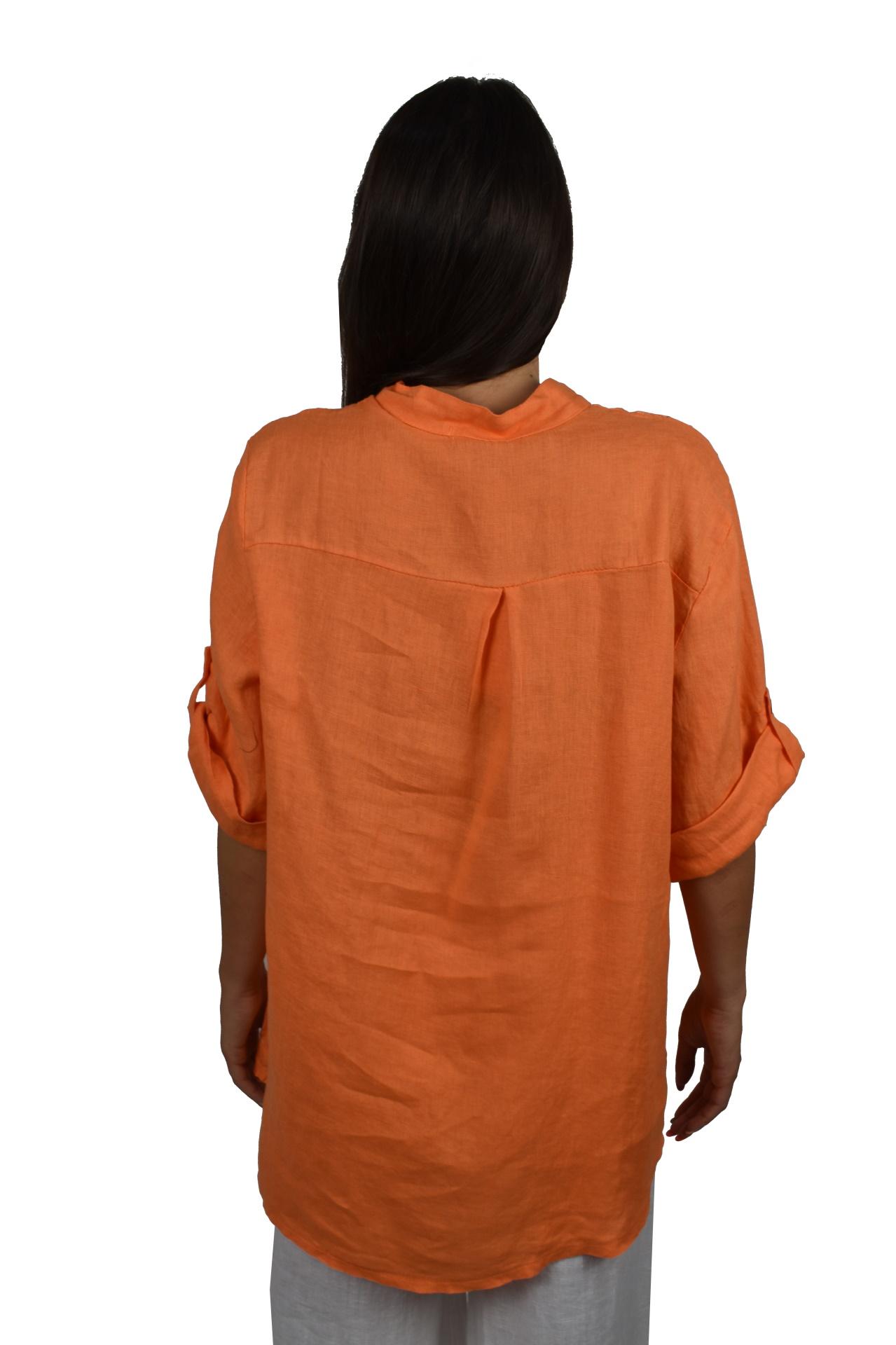 CAMMAXPE2101 ARANCIO CAMICIA DA DONNA MANICA 34 100 LINO 1 1stAmerican camicia manica 3/4 da donna 100% lino Made in Italy - vestito collo a y da spiaggia donna