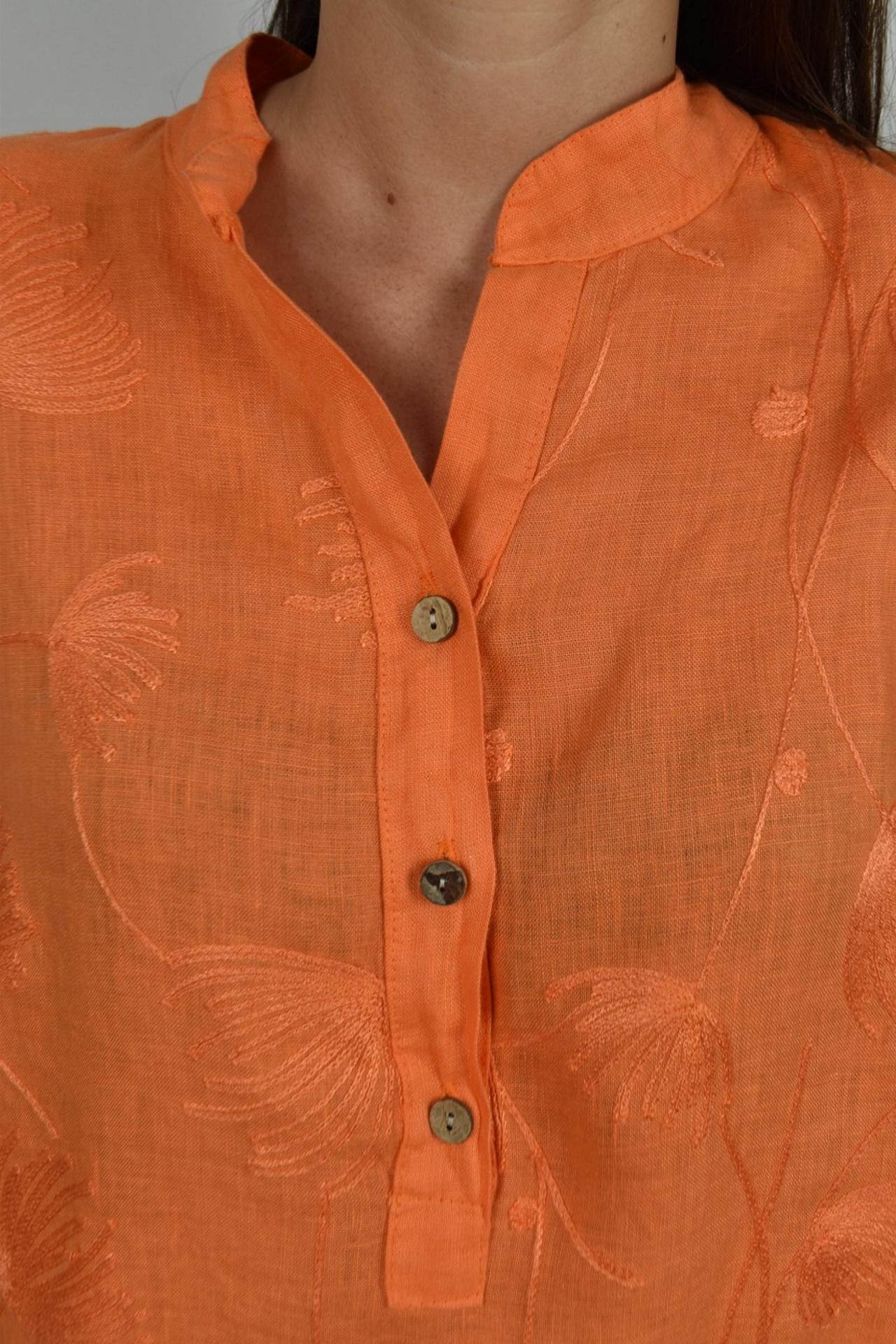 CAMMAXPE2101 ARANCIO CAMICIA DA DONNA MANICA 34 100 LINO 2 1stAmerican camicia manica 3/4 da donna 100% lino Made in Italy - vestito collo a y da spiaggia donna