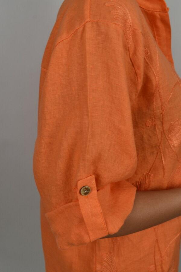 CAMMAXPE2101 ARANCIO CAMICIA DA DONNA MANICA 34 100 LINO 3 1stAmerican camicia manica 3/4 da donna 100% lino Made in Italy - vestito collo a y da spiaggia donna