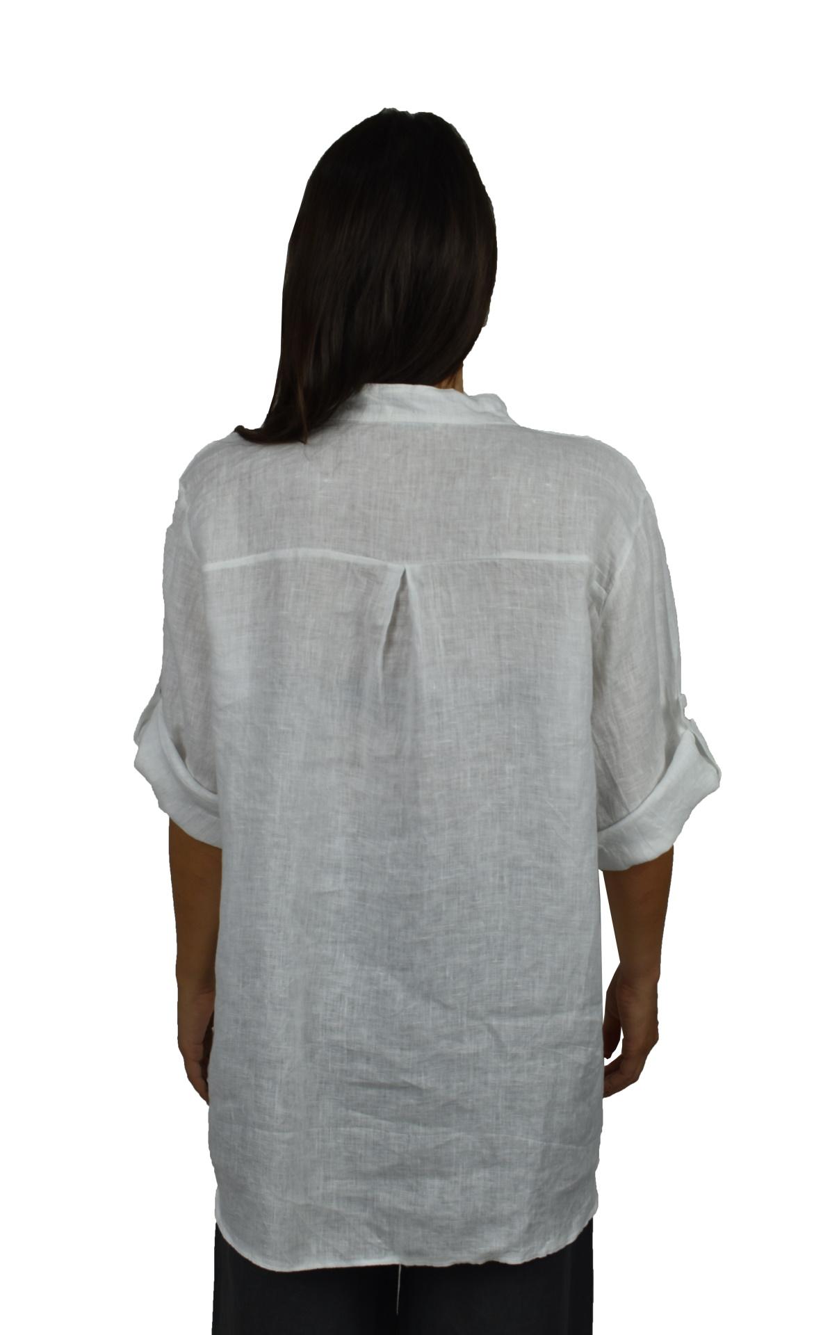 CAMMAXPE2101 BIANCO CAMICIA DA DONNA MANICA 34 100 LINO 1 1stAmerican camicia manica 3/4 da donna 100% lino Made in Italy - vestito collo a y da spiaggia donna