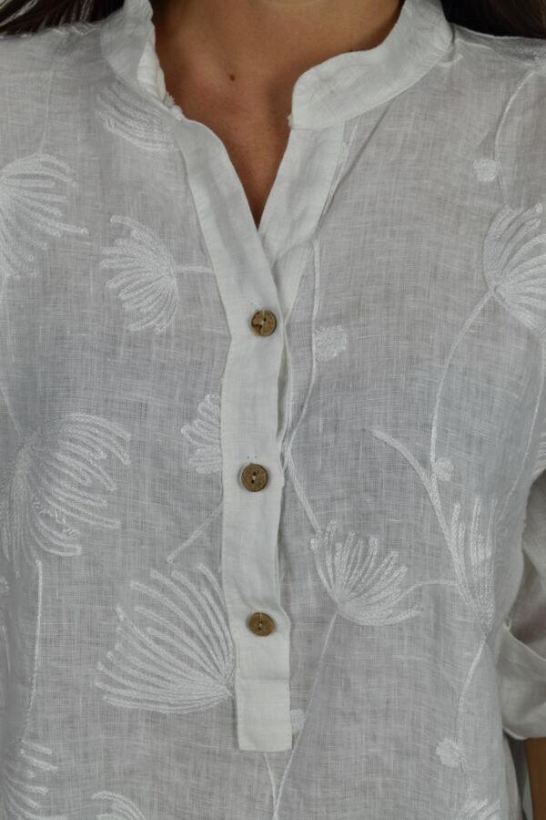 CAMMAXPE2101 BIANCO CAMICIA DA DONNA MANICA 34 100 LINO 2 1stAmerican camicia manica 3/4 da donna 100% lino Made in Italy - vestito collo a y da spiaggia donna