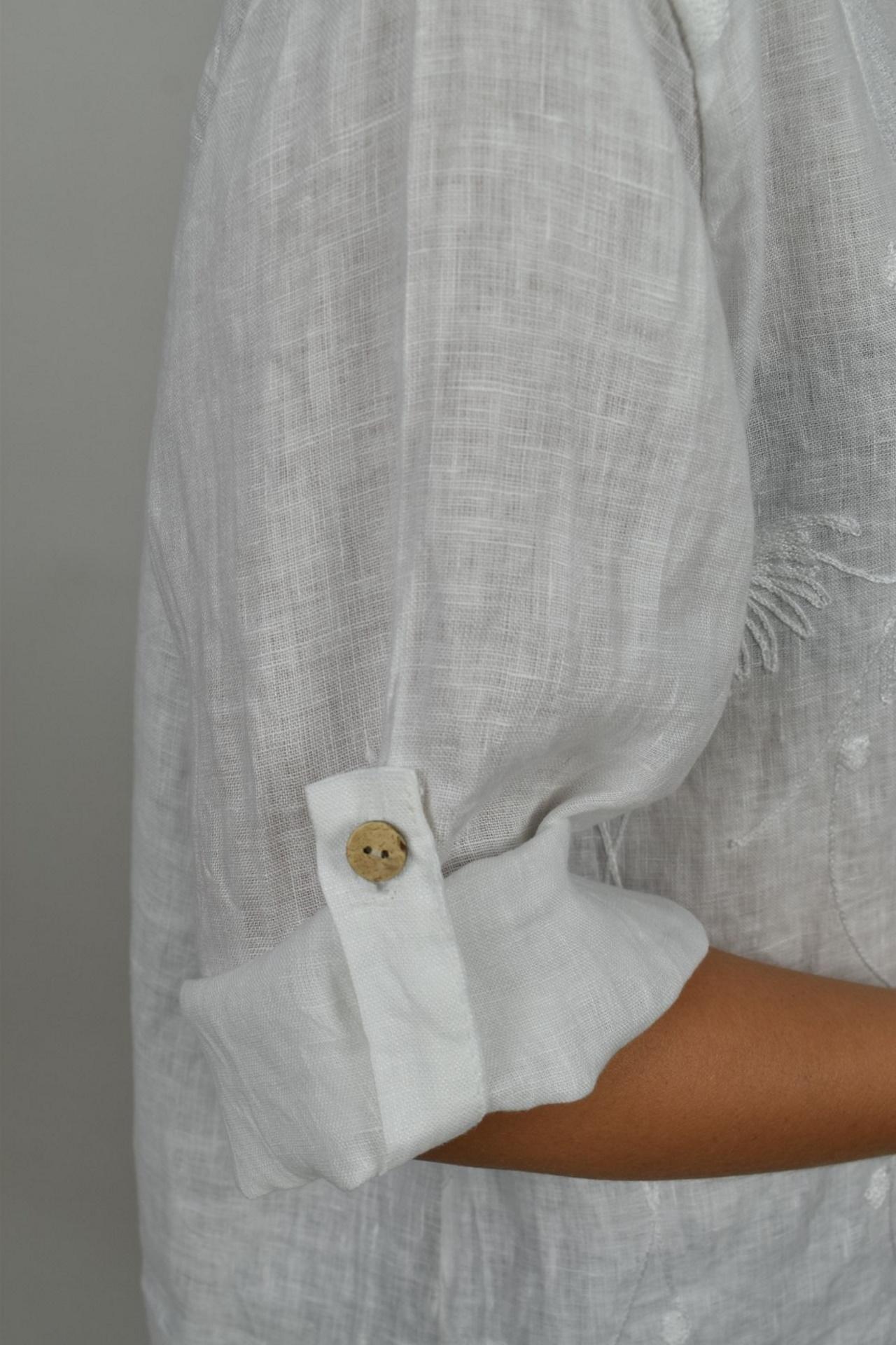 CAMMAXPE2101 BIANCO CAMICIA DA DONNA MANICA 34 100 LINO 3 1stAmerican camicia manica 3/4 da donna 100% lino Made in Italy - vestito collo a y da spiaggia donna