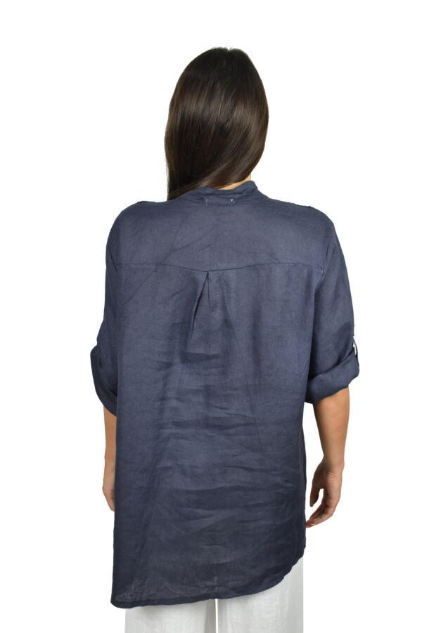 CAMMAXPE2101 BLU CAMICIA DA DONNA MANICA 34 100 LINO 1 1stAmerican camicia manica 3/4 da donna 100% lino Made in Italy - vestito collo a y da spiaggia donna