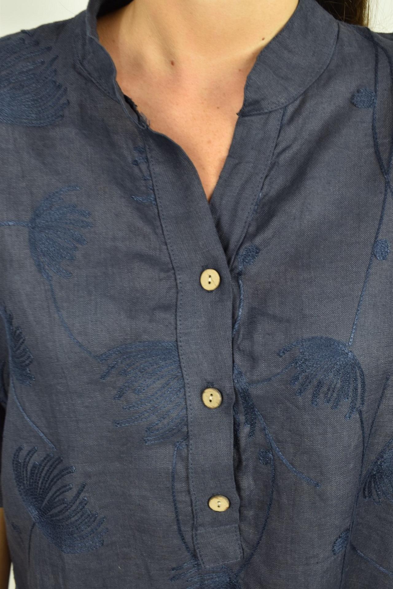 CAMMAXPE2101 BLU CAMICIA DA DONNA MANICA 34 100 LINO 2 1stAmerican camicia manica 3/4 da donna 100% lino Made in Italy - vestito collo a y da spiaggia donna