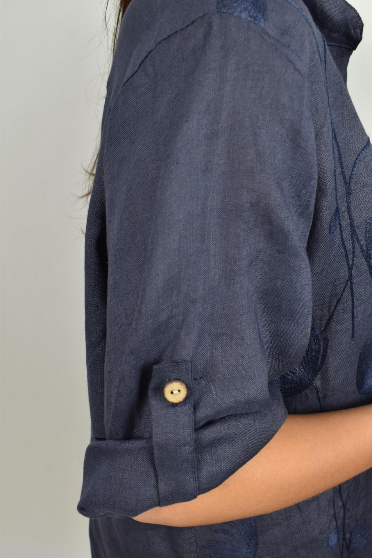 CAMMAXPE2101 BLU CAMICIA DA DONNA MANICA 34 100 LINO 3 1stAmerican camicia manica 3/4 da donna 100% lino Made in Italy - vestito collo a y da spiaggia donna