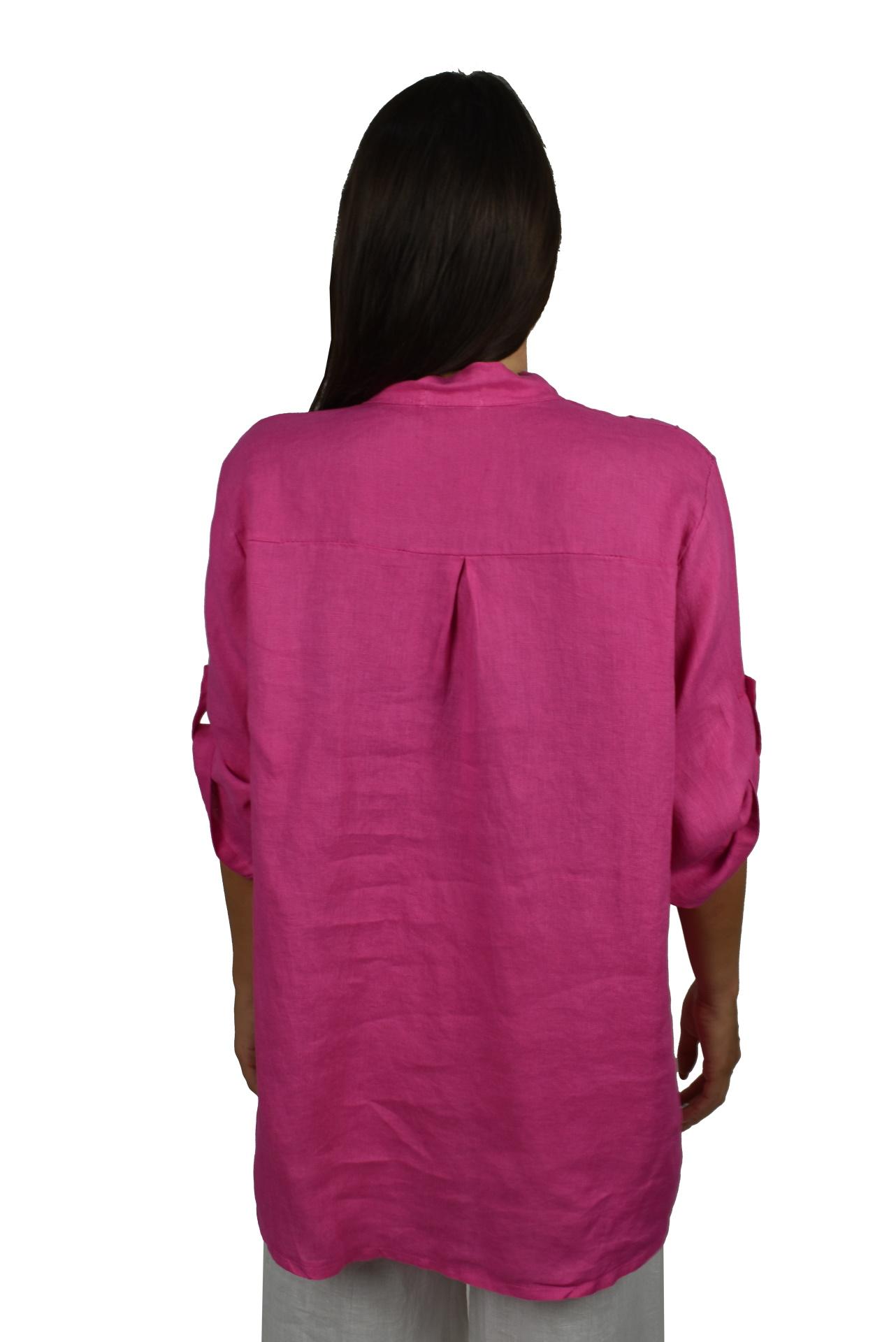 CAMMAXPE2101 FUCSIA CAMICIA DA DONNA MANICA 34 100 LINO 1 1stAmerican camicia manica 3/4 da donna 100% lino Made in Italy - vestito collo a y da spiaggia donna