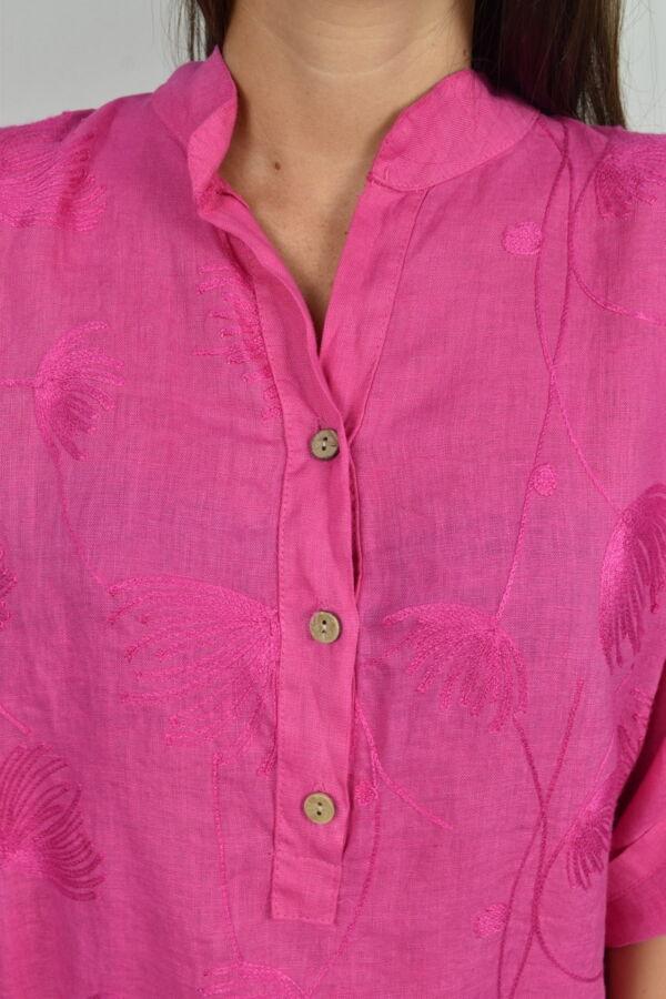 CAMMAXPE2101 FUCSIA CAMICIA DA DONNA MANICA 34 100 LINO 2 1stAmerican camicia manica 3/4 da donna 100% lino Made in Italy - vestito collo a y da spiaggia donna