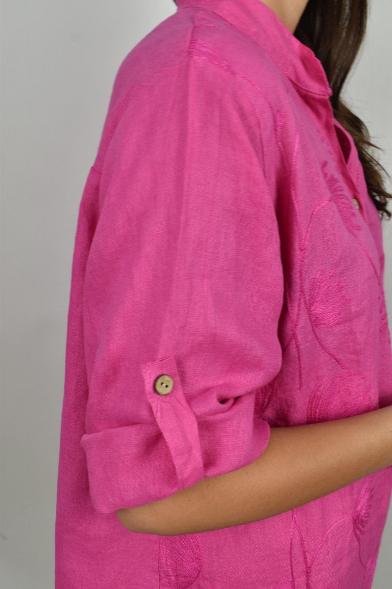 CAMMAXPE2101 FUCSIA CAMICIA DA DONNA MANICA 34 100 LINO 3 1stAmerican camicia manica 3/4 da donna 100% lino Made in Italy - vestito collo a y da spiaggia donna
