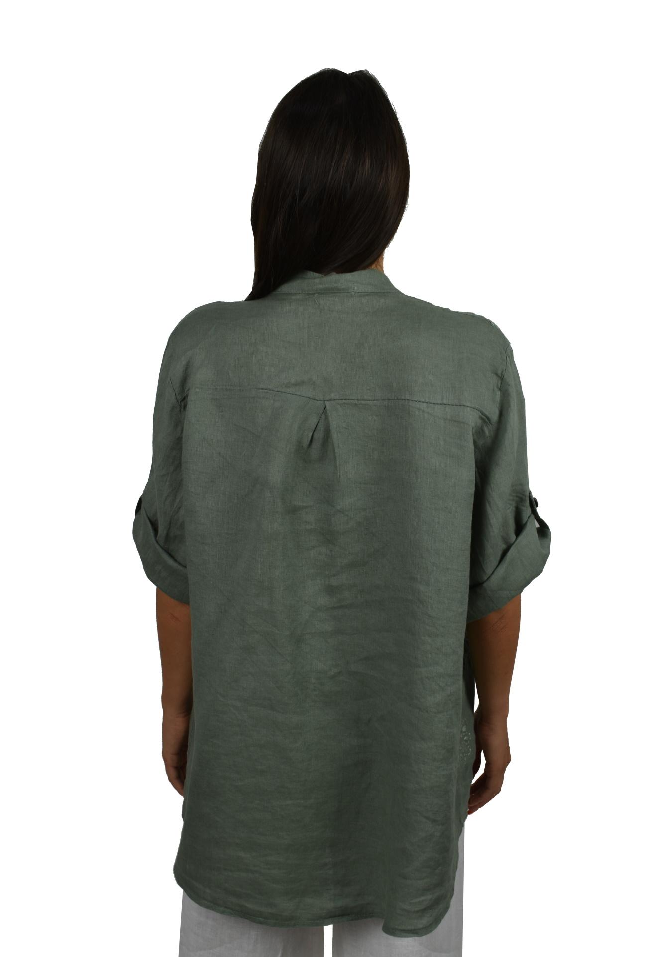 CAMMAXPE2102 ARMY CAMICIA DA DONNA MANICA 34 100 LINO 1 1stAmerican camicia manica 3/4 da donna 100% lino Made in Italy - vestito collo a y da spiaggia donna