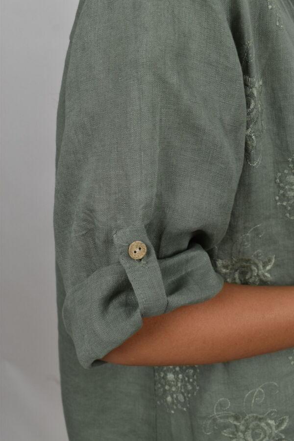 CAMMAXPE2102 ARMY CAMICIA DA DONNA MANICA 34 100 LINO 3 1stAmerican camicia manica 3/4 da donna 100% lino Made in Italy - vestito collo a y da spiaggia donna