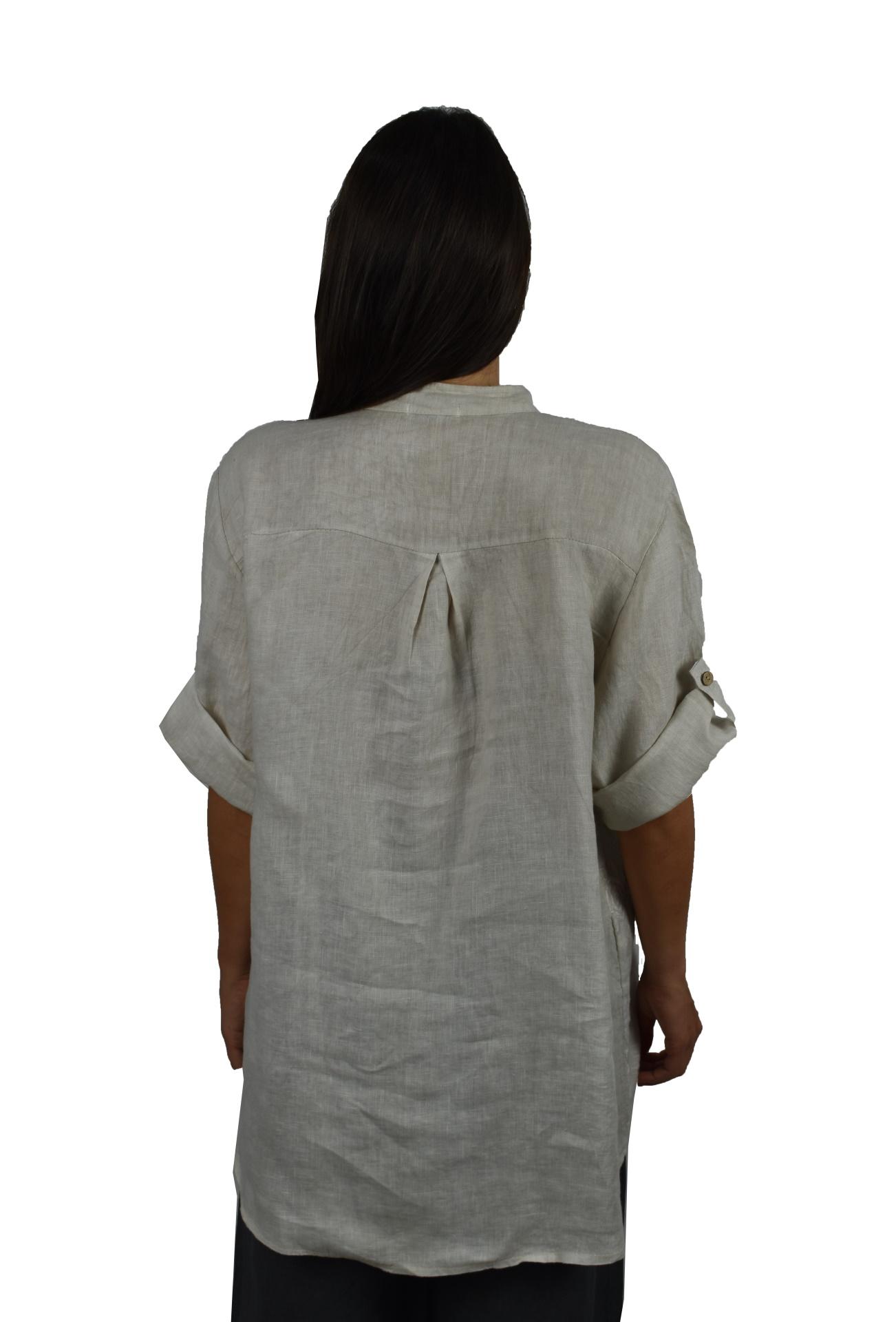CAMMAXPE2102 BEIGE CAMICIA DA DONNA MANICA 34 100 LINO 1 1stAmerican camicia manica 3/4 da donna 100% lino Made in Italy - vestito collo a y da spiaggia donna
