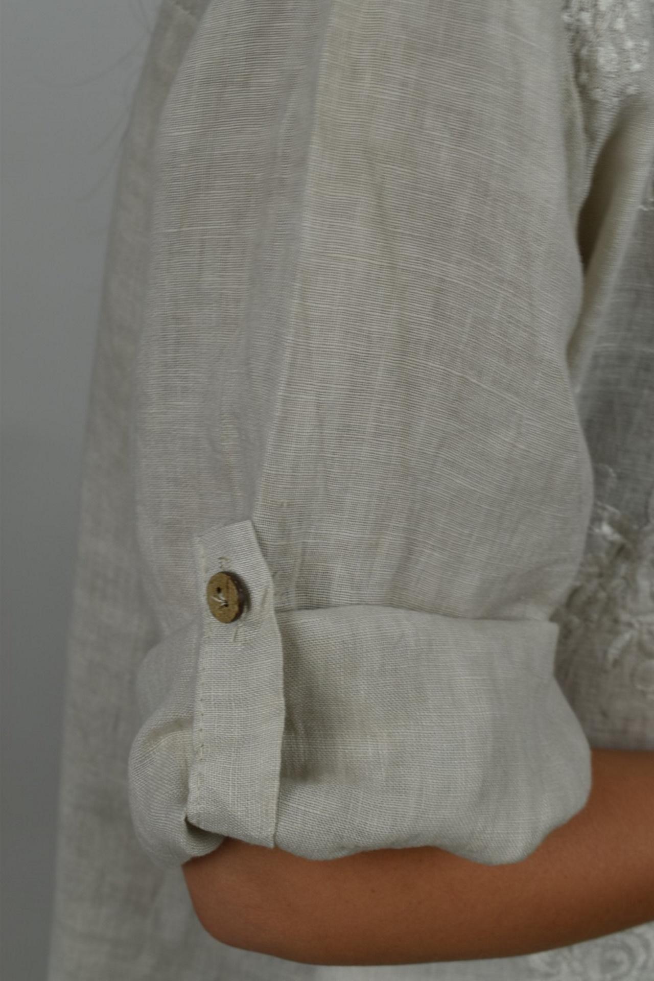 CAMMAXPE2102 BEIGE CAMICIA DA DONNA MANICA 34 100 LINO 3 1stAmerican camicia manica 3/4 da donna 100% lino Made in Italy - vestito collo a y da spiaggia donna