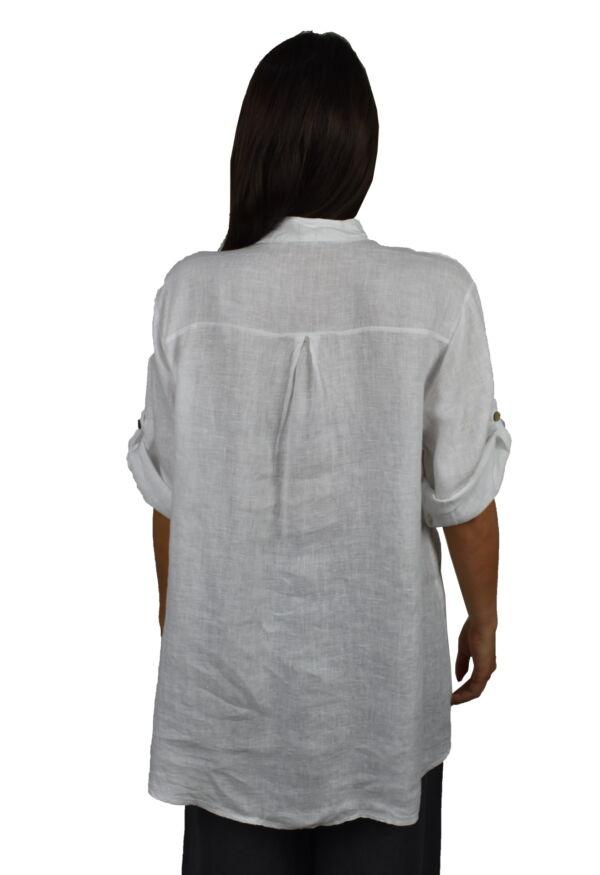 CAMMAXPE2102 BIANCO CAMICIA DA DONNA MANICA 34 100 LINO 1 1stAmerican camicia manica 3/4 da donna 100% lino Made in Italy - vestito collo a y da spiaggia donna