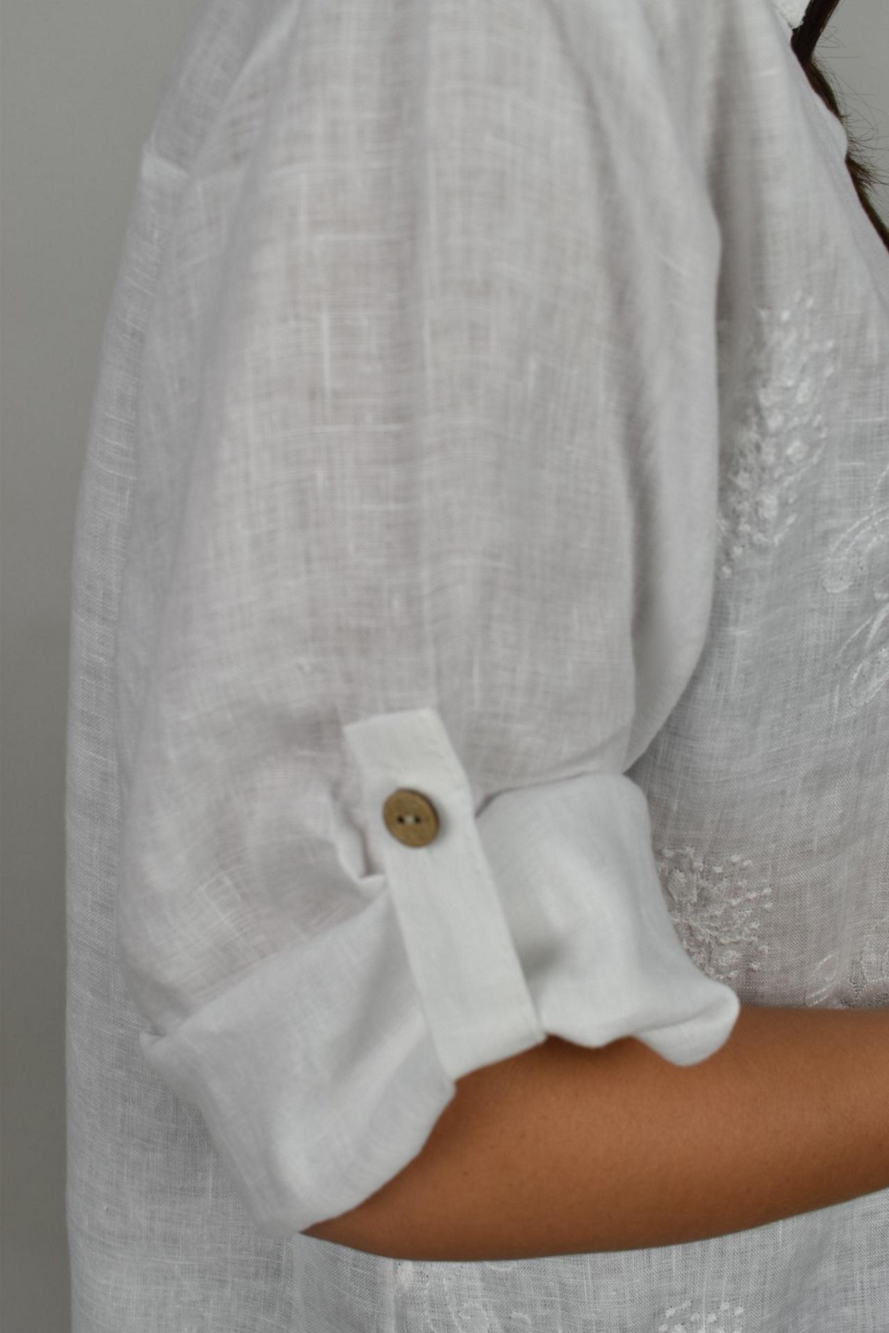 CAMMAXPE2102 BIANCO CAMICIA DA DONNA MANICA 34 100 LINO 3 1stAmerican camicia manica 3/4 da donna 100% lino Made in Italy - vestito collo a y da spiaggia donna