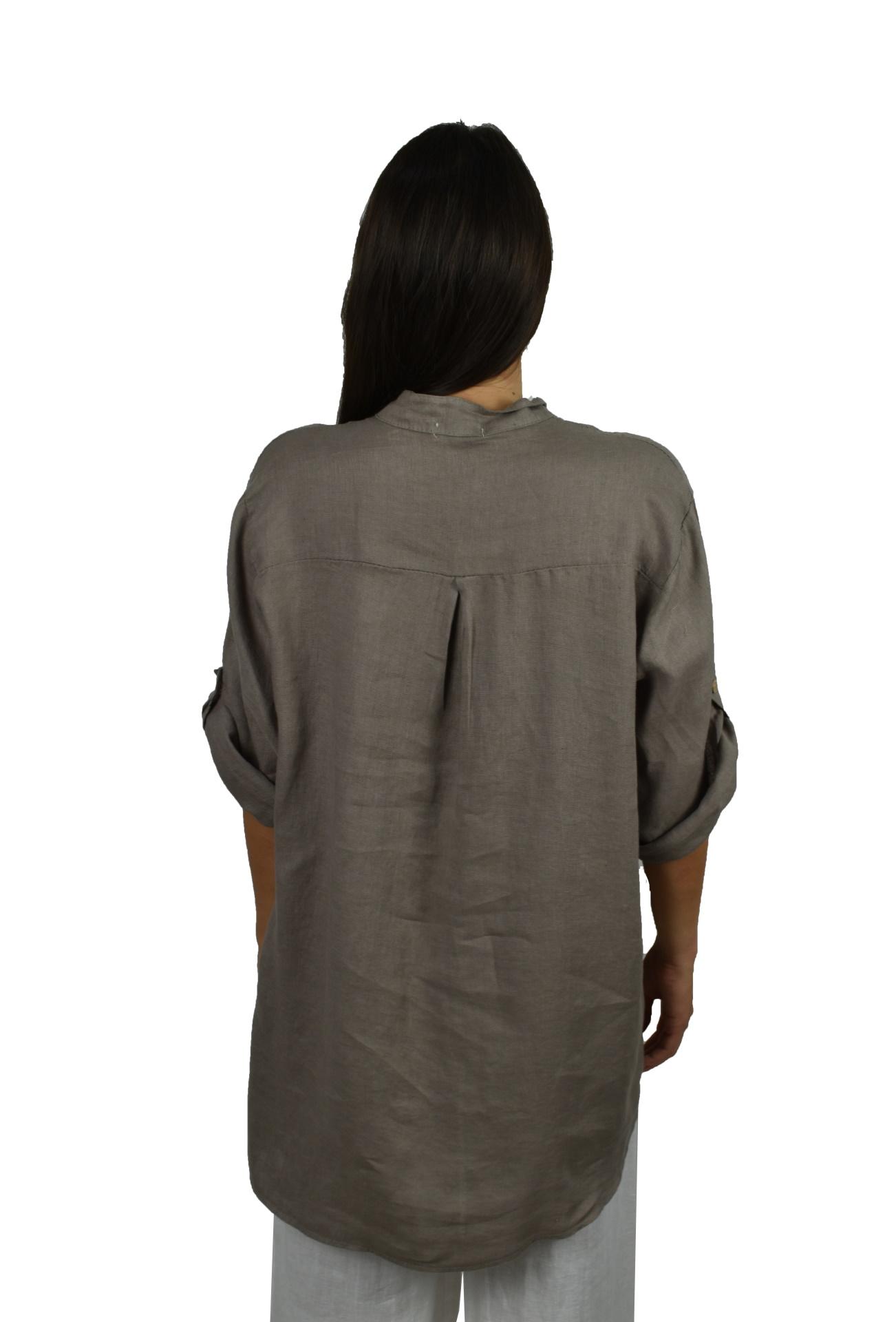 CAMMAXPE2102 FANGO CAMICIA DA DONNA MANICA 34 100 LINO 1 1stAmerican camicia manica 3/4 da donna 100% lino Made in Italy - vestito collo a y da spiaggia donna