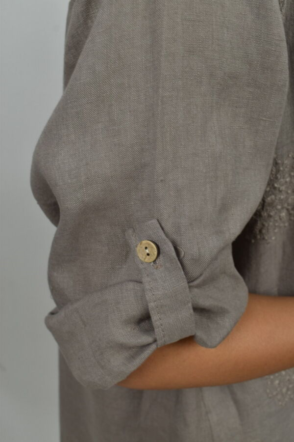 CAMMAXPE2102 FANGO CAMICIA DA DONNA MANICA 34 100 LINO 3 1stAmerican camicia manica 3/4 da donna 100% lino Made in Italy - vestito collo a y da spiaggia donna